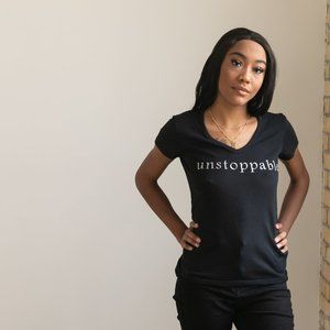 AliMadi Black with Silver Unstoppable Graphic Tee